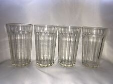 Vintage FEDERAL GLASS Tumblers Fluted 1950's Diner Soda Milkshake Glasses x 4