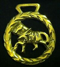 TROTTING HARNESS HORSE in LEAF FRAME Harness Horse Brass England WOW YOUR WALLS!