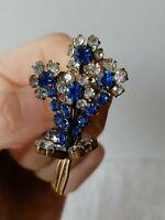 VINTAGE 40s Blue Clear Diamante Paste Flower Spray Posy Gold Retro Pin Brooch