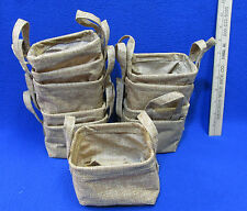 10 Burlap Looking Fabric Baskets 2 Handles Plants Craft Project Daycare Church