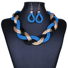 Gold Tone Blue And  Black Six Mesh Chain Link Braded Necklace Earring