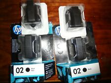 LOT OF 4 GENUINE HP 02 BLACK C8721WN CB279W INK PHOTOSMART 8250 3310 3210 3110