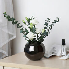 HN- 5.5in Stainless Steel Flower Vase Round Plant Pot Home Office Room Decoratio