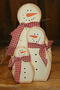cute Country wood Stacking Snowman Family Great Holiday Christmas Decor