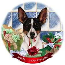 Tricolor Rat Terrier Dog Porcelain Ornament 'Santa. I Can Explain!