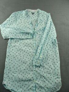 Aerie Sleep Shirt Womens Small Long Sleeve Button Up Night Shirt Blue w Gray Dot