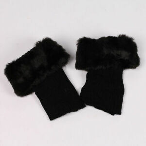 Womens Boot Socks Knitted Warm Faux Fur Cuffs Toppers Ankle Leg Comfy Stocking