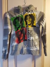 Bob Marley Catch A Fire Gray Full Zip Hoodie Jacket Juniors Size Large