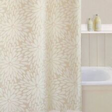 Shower Curtain Petal Flower Design Beige Cream Polyester Includes Hooks SC131