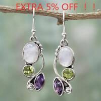 Women Natural Rainbow Moonstone Amethyst Dangle Hook Earrings Wedding Jewelry AU