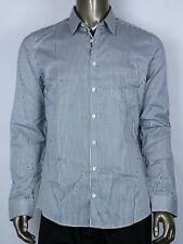 $395 Authentic Gucci Men's Slim Green/White Stripped Shirt 42/16.5 307661 3100