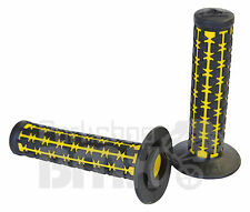 AME old school BMX Dual Duals bicycle grips BLACK over YELLOW *MADE IN USA* NEW