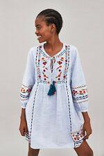 ZARA Gorgeous Striped Boho Tunic dress with Tassels Size M Suit uk 10