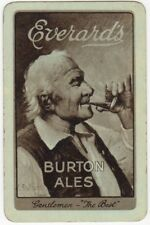 Playing Cards 1 Single Swap Card Vintage Everards BURTON ALES Beer MAN Signed 1
