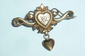 Alte goldene Schaumgold Brosche Historismus 1900 Anstecker Nadel Hearts Herz