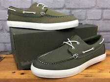 TIMBERLAND MENS UK 9.5 EU 44 KHAKI GREEN UNION WHARF 2 BOAT SHOE LD