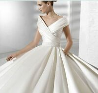 Custom New White/Ivory Satin Bridal Gown Wedding Dress Size 4-6-8-10-12-14-16-18