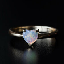 Minimalist Heart Shaped Australian Solid Opal Engagement Ring in 14K Yellow Gold