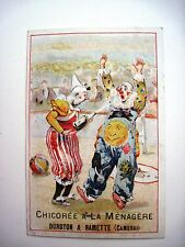 """Vintage French Trade Card for """"Chicory Coffee"""" w/ Humorous Picture of Clowns *"""