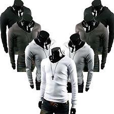 uomo manica lunga con cappuccio T-Shirt Scollo a V Felpa slim maglia maglione