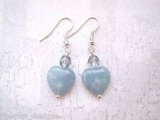*BRAZILIAN AQUAMARINE GEMSTONE BLUE LOVE HEART* SP Earrings Valentine XMAS Gift