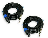 2 cords 25 FT FOOT speakon compatible to 1/4 speaker PAIR CABLES 18ga gauge wire