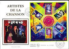 BLOC 37 + FDC  ENVELOPPE 1er JOUR SOIE GRAND FORMAT  ARTISTES DE LA CHANSON