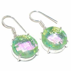 """Faceted Sterling Opal Gemstone Handmade Silver Jewelry Earring 1.3"""" ERJ4456"""