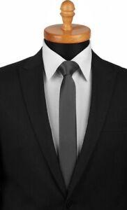 WEDDING PARTY > 5cm Skinny Retro Mens Solid Satin Necktie Tie Charcoal Grey