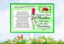 BROTHER BIRTHDAY POSTCARD TO HEAVEN MEMORIAL GRAVESIDE CARD & FREE HOLDER