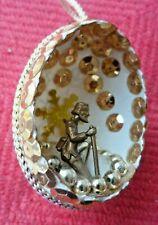 Vintage Handmade Christmas/Easter Ornament - Real Egg Diorama Man On Bended Knee