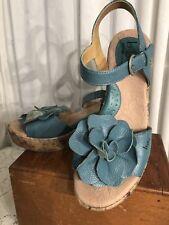 B.O.C. BORN CONCEPTS Womens shoes sz 8 39 wedges  flowers AQUA sandals leather