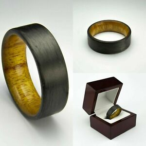 Ring For Men Women Wedding Band Ring Carbon Fiber Ring, Canary Wood
