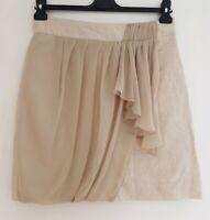 YOANA BARASCHI Women's Beige Draped Linen Shimmer Straight Cut Skirt. UK 10,US 6