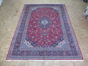 10'1 X 13'7 Hand Knotted Semi Antique Red Persian Kashan Oriental Rug G1972