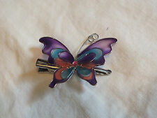 Collectible Hair Jewelry Clip Pink Rhinestone Purple Blue Pink Enamel Butterfly