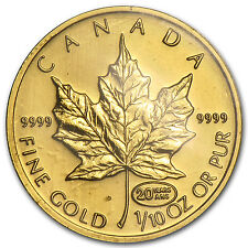 1999 1/10 oz Gold Canadian Maple Leaf - 20th Anniversary Privy Mark - SKU #38939