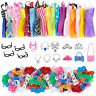35Pcs = 10 Dress + 10 Shoes with 15 Accessories Outfits Clothes For 12 in. Doll