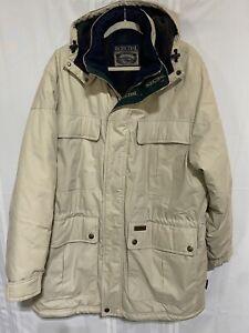 Pacific Trail Men's XL Beige Parka Coat Hood Nylon Lining Heavy Jacket