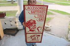 """Large Vintage Amoco Gas Station Batteries Tires Oil 40"""" Metal Sign"""