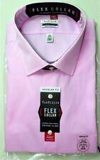 Van Heusen Men's Dress Shirt Big 18.5 34-35 Bright Pink Regular Fit Flex Collar