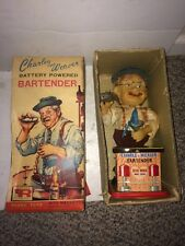 Vintage 60s Charley Weaver Bartender Battery Operated Tin Toy,Original Box,Works