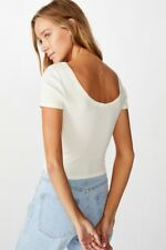 Cotton On Womens Sweetheart Scoop Back Tee S/S Tops  In  White