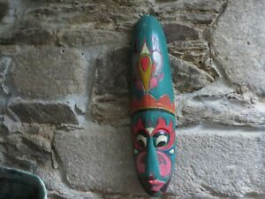 Vintage stunning vibrant mask vibrant colours greens/reds/pinks handpainted