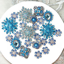 Wholesale 40pc BLUE Rhinestone Brooch Pin Bridal Wedding Bouquet Button Applique