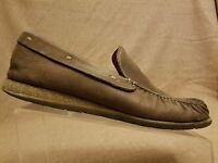 Cole Haan NikeAir Men Solid Brown Loafers Moc Toe Leather Boat Shoes Size 11 M