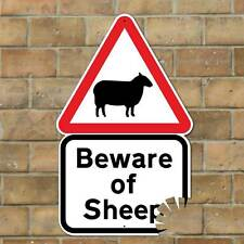 Funny Beware of Sheep Sign with bite mark, Joke Road Sign, Funny Farmer Gift
