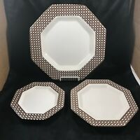 Three Piece Set of NIKKO Classic Collection Brown Cane Octagon Plates