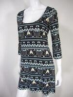 DIANE VON FURSTENBERG SILK 3/4 Sleeve Floral PRINT DRESS SIZE 2 Blue Gray White