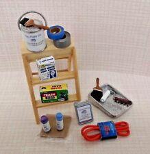 Dollhouse Miniature Assortment 16 pc. Household Supplies, step ladder 1:12 scale